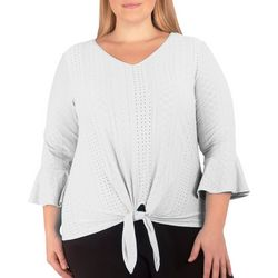 NY Collection Plus Eyelet Knotted Top