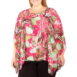 NY Collection Plus Floral Chiffon Poncho