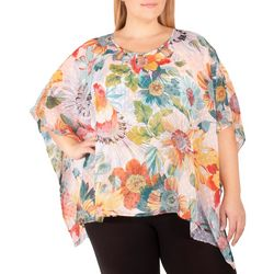 NY Collection Plus Floral Beaded Chiffon Poncho