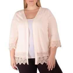 NY Collection Plus Crepe Crochet Trim Cardigan