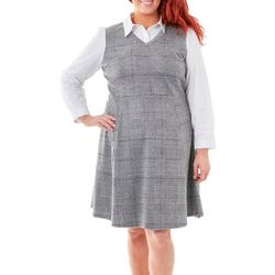 NY Collection Plus Plaid Dress with Solid Blouse