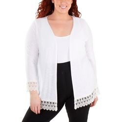 NY Collection Plus Lace Trim Cardigan