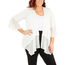 NY Collection Plus Ruched Bell Sleeve Cardigan