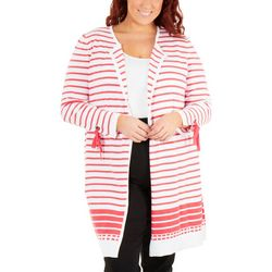 NY Collection Plus Long Striped Cardigan