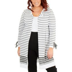 Plus Long Striped Cardigan