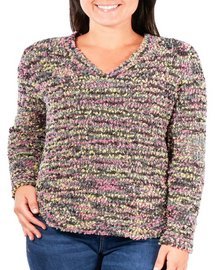 NY Collection Plus Multi-Color Round Hem Sweater