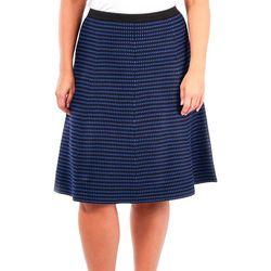 NY Collection Plus Stripe Flare Sweater Skirt