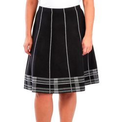 NY Collection Plus Plaid Flare Sweater Skirt