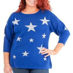 NY Collection Plus Metallic Star Sweater