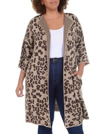 NY Collection Plus Animal Jacquard Duster Cardigan