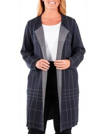 NY Collection Plus Dash Line Duster Cardigan