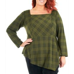 NY Collection Plus Plaid Peplum Top