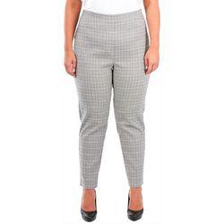 NY Collection Plus Plaid Split Waist Slim Fit Pants
