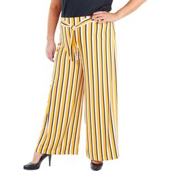 NY Collection Plus Striped Tie Front Pants
