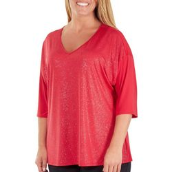 NY Collection Plus Sequin Front V-Neck Top