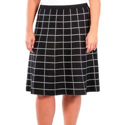 NY Collection Plus Fit & Flare Window Pane Skirt