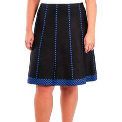 NY Collection Plus Fit & Flare Checkered Skirt