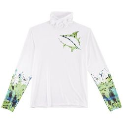 Loco Skailz Mens Peacock Neck Shield Long Sleeve Shirt
