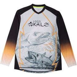 Loco Skailz Mens Barracuda V-Neck Long Sleeve T-Shirt