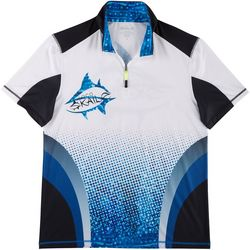 Loco Skailz Mens Whale Shark Quarter Zip Short Sleeve Shirt