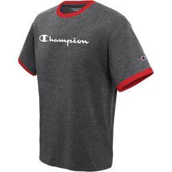 Champion Mens Jersey Ringer Logo Crew T-Shirt