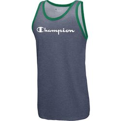 Champion Mens Heathered Script Logo Contrast Trim Tank Top