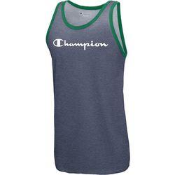 Champion Mens Heathered Script Logo Contrast Trim Tank