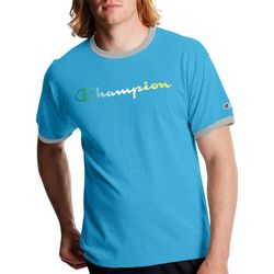 Champion Mens Graphic Ringer Logo Short Sleeve T-Shirt