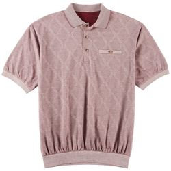 Windham Pointe Mens Diamond Print Banded Polo Shirt
