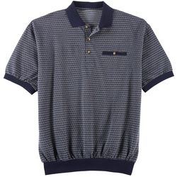 Windham Pointe Mens Weave Print Banded Polo Shirt