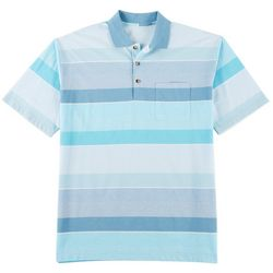 Windham Pointe Mens Striped Print Pocket Polo Shirt