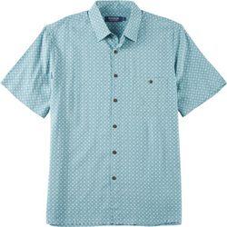 Windham Pointe Mens Geometric Floral Print Button Down Shirt