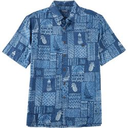 Windham Pointe Mens Lighthouse & Sailboat Button Down Shirt