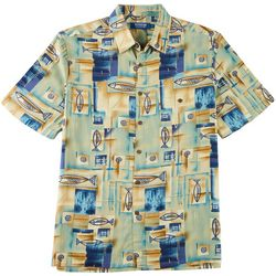 Windham Pointe Mens Fish Print Button Down Shirt