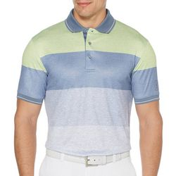PGA TOUR Mens Stripe Heathered Golf Polo Shirt