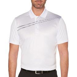 PGA TOUR Mens Gradient Wave Chest Print Polo Shirt