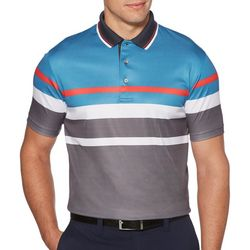 PGA TOUR Mens Geo Stripe Short Sleeve Polo Shirt