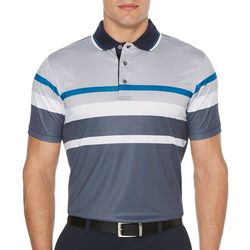 PGA TOUR Mens Geo Stripe Short Sleeve Golf Polo Shirt