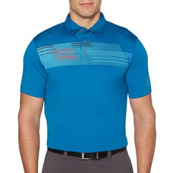 PGA TOUR Mens Stripe Panel Short Sleeve Golf Polo Shirt