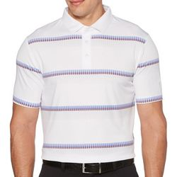 PGA TOUR Mens Geometric Stripe Short Sleeve Polo Shirt