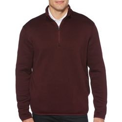 PGA TOUR Mens Solid Fleece Quarter Zip Pullover Sweater