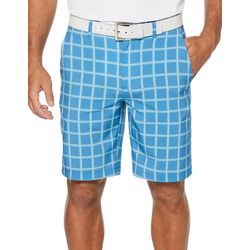 PGA TOUR Mens Heather Grid Print Flat Front Golf Shorts