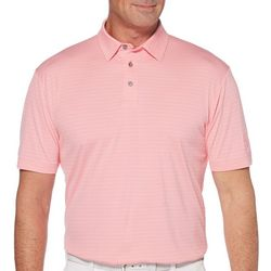 PGA TOUR Mens Stripe Jacquard Short Sleeve Polo Shirt