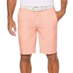 PGA TOUR Mens Grid Print Flat Front Shorts