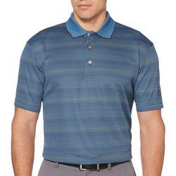 PGA TOUR Mens Stripe with Pop Print Polo Shirt