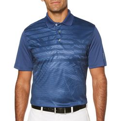 PGA TOUR Mens Tropical Palm Stripe Polo Shirt