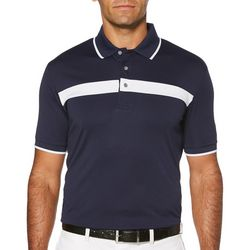 PGA TOUR Mens Golf Chest Stripe Knit Short Sleeve Polo Shirt