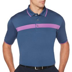PGA TOUR Mens Golf Chest Stripe Short Sleeve Polo Shirt