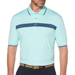 PGA TOUR Mens Golf Chest Stripe Knit Polo Shirt