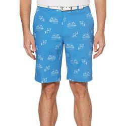 PGA TOUR Mens Tropical Print Seersucker Flat Front Shorts